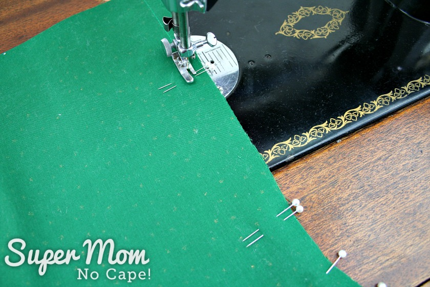 The green lining for the stocking being sewn together