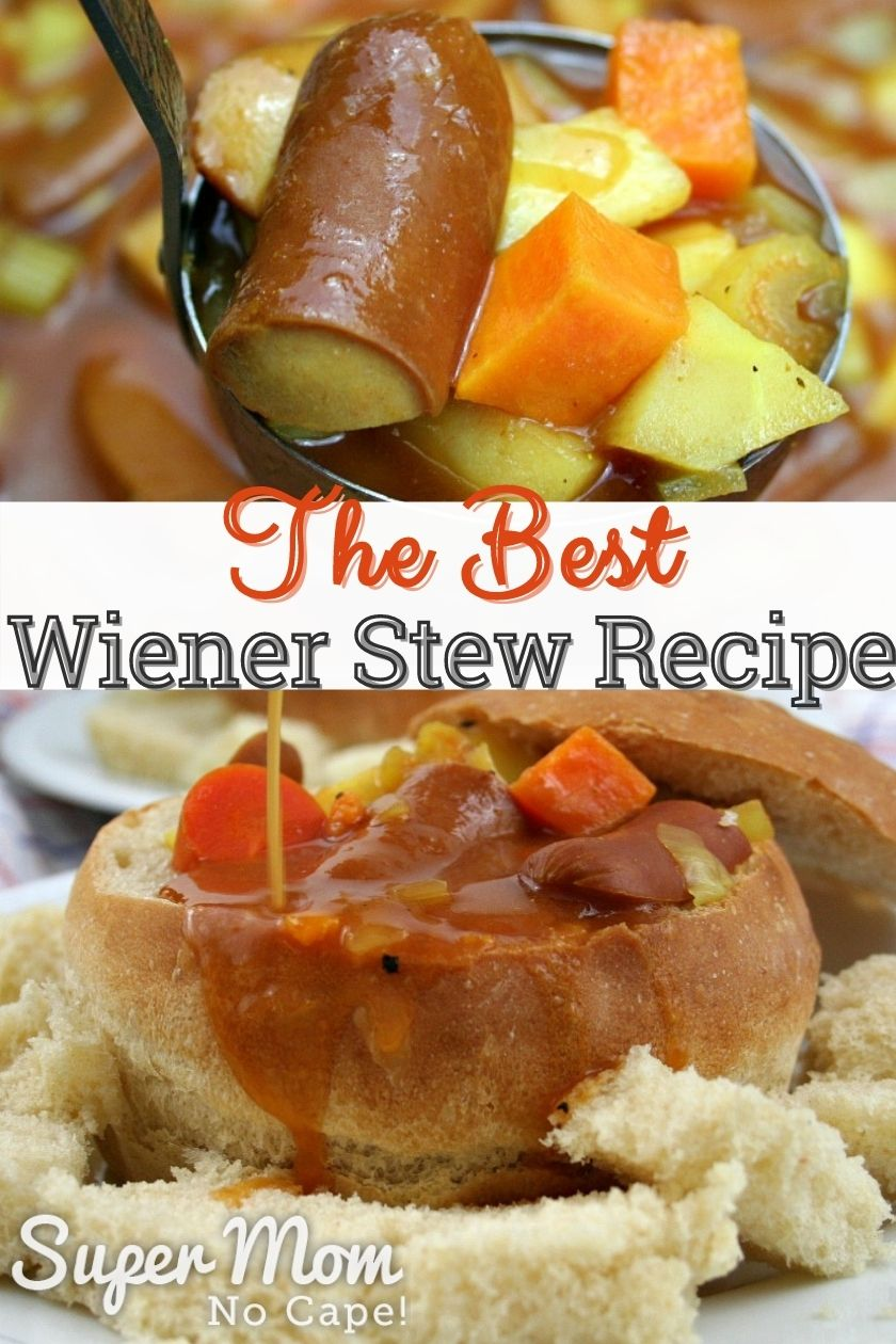 Collage photo of a ladle full of wiener stew in top photo and the stew in a bread bowl in the bottom photo.