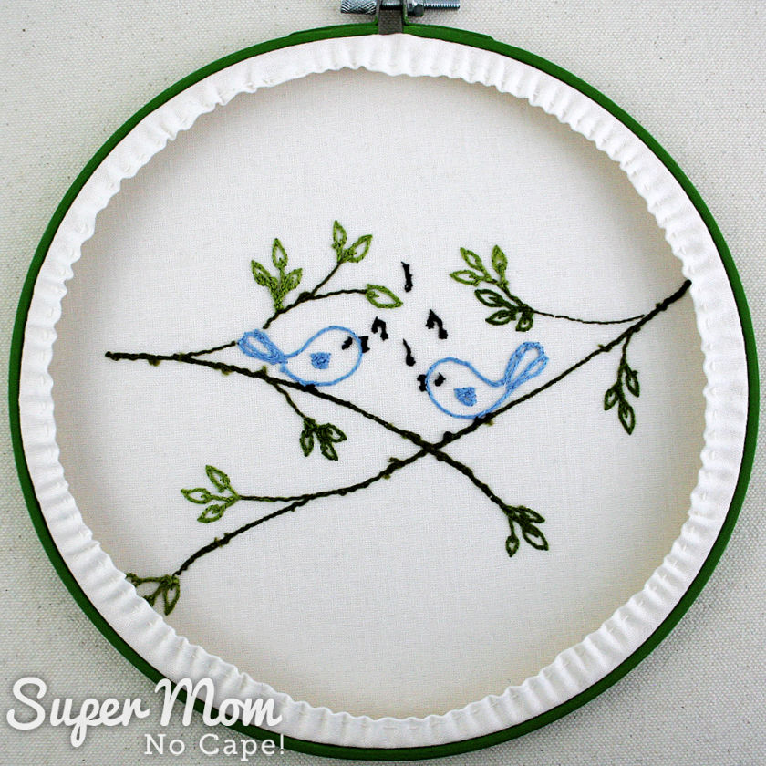 Back view of the songbirds hoop art showing the gathered fabric.
