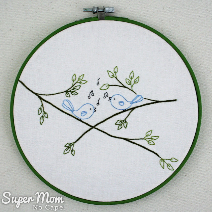 Completed Songbirds embroidery framed in an embroidery hoop painted green.
