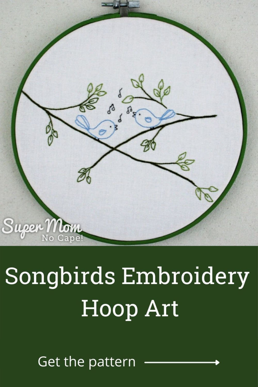 Vertical image with the embroidery hoop framed Songbird Embroidery over top of text.