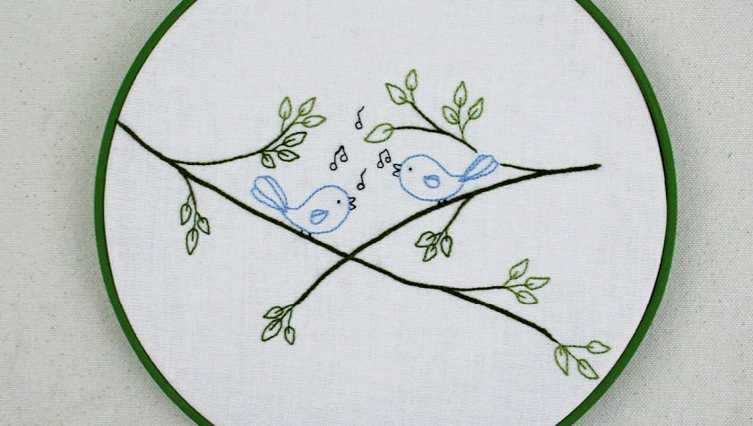 Songbirds Embroidery Hoop Art