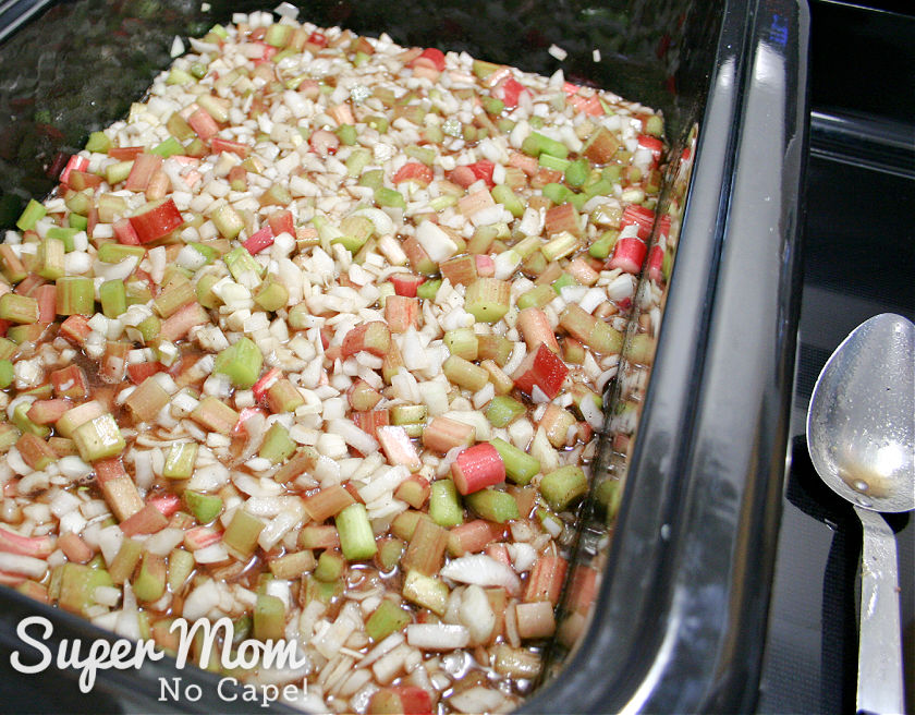 Rhubarb, onion and sugar mixture mixed together in a large roaster.