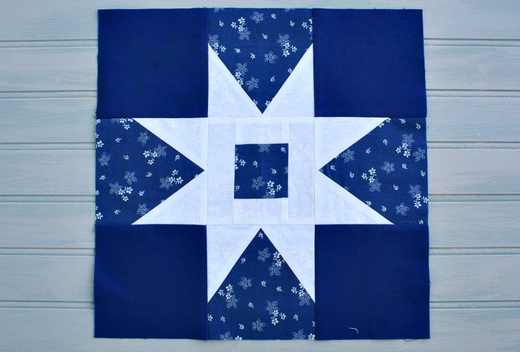Blue and white Garden Path quilt block #9 for the In Our Garden BOM